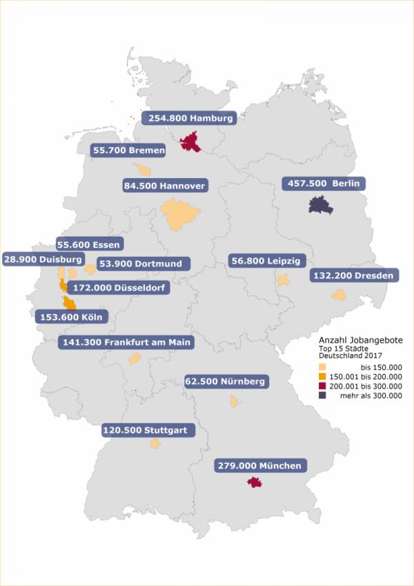 Regionaler Arbeitsmarkt: Anzahl Jobangebote der Top 15 Städte
