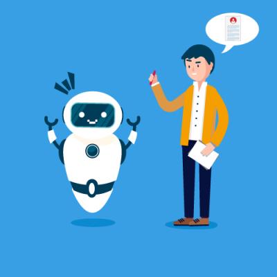 Mann rekrutiert Roboter