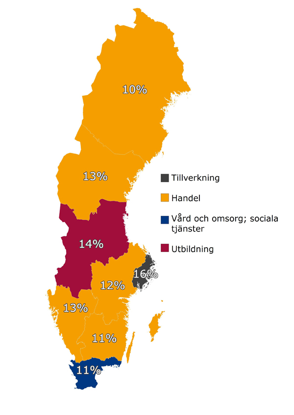 Branschens procentuella andel av alla platsannonser i en region